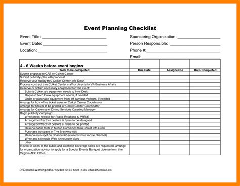 4 event planning checklist excel packaging clerks