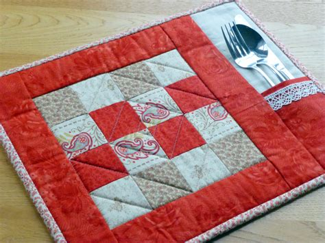 Patchwork Placemat Patterns - pdf pattern for 6 quilted placemats coasters beginner