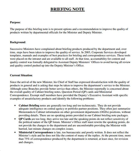 Written Briefformat Sle Briefing Note 5 Documents In Pdf Word