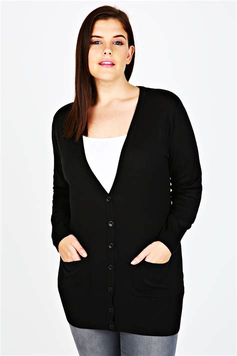 Cardigan Anak Size 2 black soft boyfriend cardigan with pockets plus size
