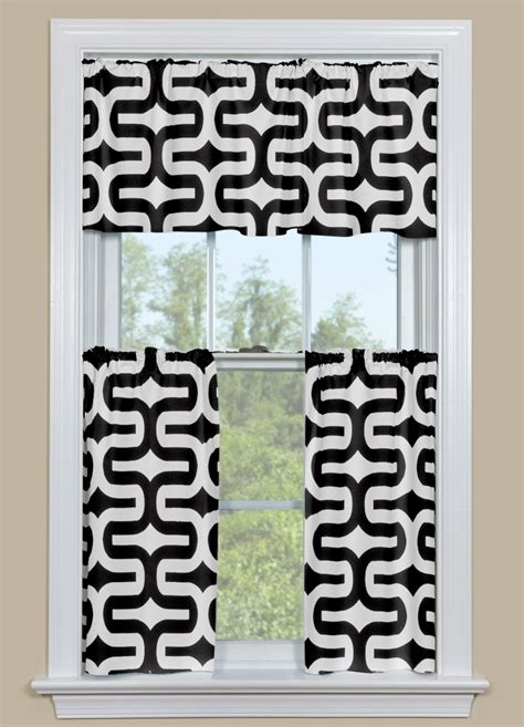 black white kitchen curtains geometric style kitchen curtain in black and white