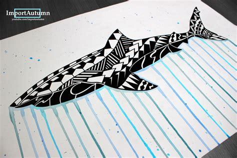 let s draw great white shark polynesian tattoo design
