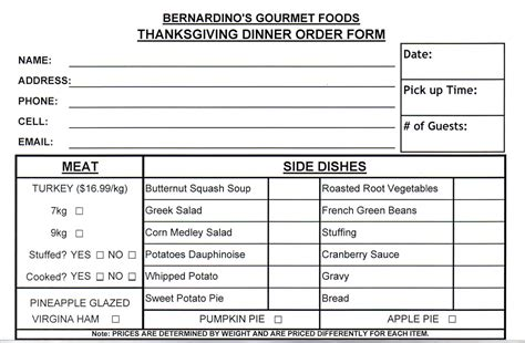dinner order form template best photos of food order form food order form template