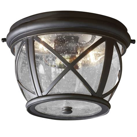 Outdoor Lighting Flush Mount Shop Allen Roth Castine 10 9 In W Rubbed Bronze Outdoor Flush Mount Light At Lowes