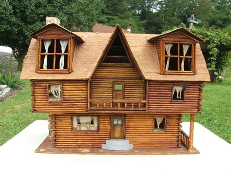 log cabin doll house large 2 story rolled paper rustic log cabin doll house model handmade folk art ebay