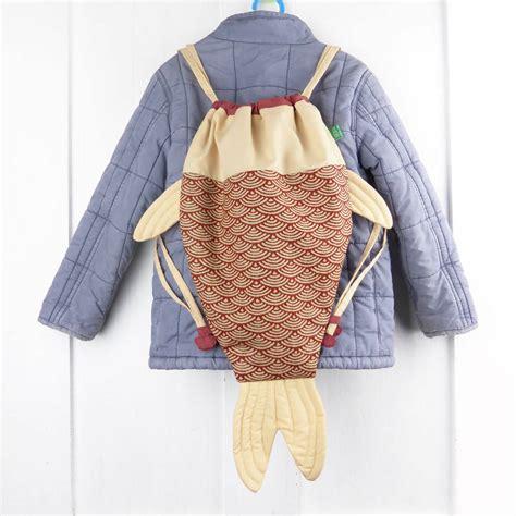 Koinobori Drawstring fish shaped drawstring bag by petit mushyp
