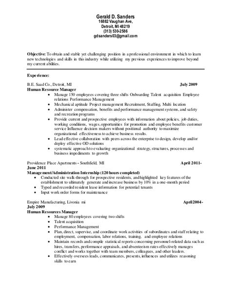 gerald d sanders resume