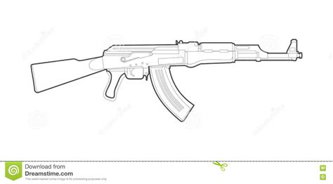 ak 47 stock vector image of weapon black submachine