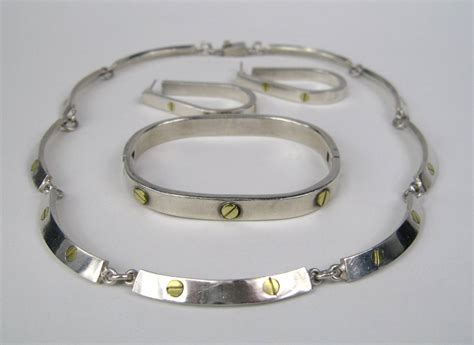 Mexican Sterling Silver DEMI PARURE 1970s For Sale at 1stdibs