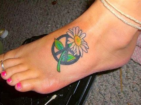 tattoo peace sign designs heaven can wait peace sign and flowers designs