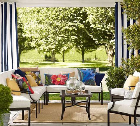 pb classic stripe indoor outdoor grommet drape pottery barn