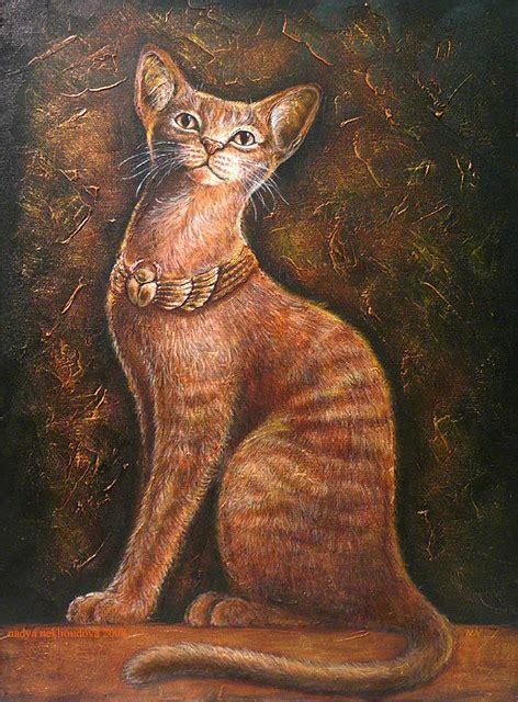 bast cat goddess  egypt acrylics  canvas bast cat flickr
