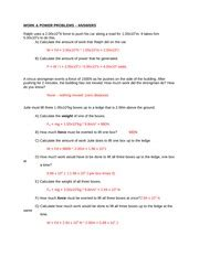 work and power problems worksheet work amp power problems