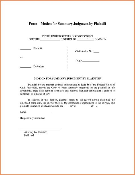 summary judgment motion template sle motion for summary judgment sle california