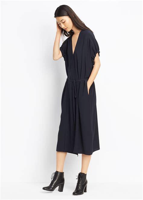 kimono dress pattern uk lyst vince kimono wrap dress in blue