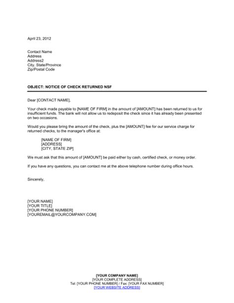 Notice Of Check Nsf 2 Template Sle Form Biztree Com Nsf Template