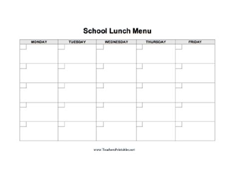 school lunch calendar template school lunch menu