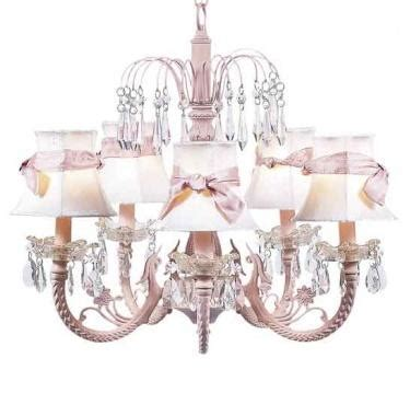 white and pink chandelier white chandelier shade pink sash