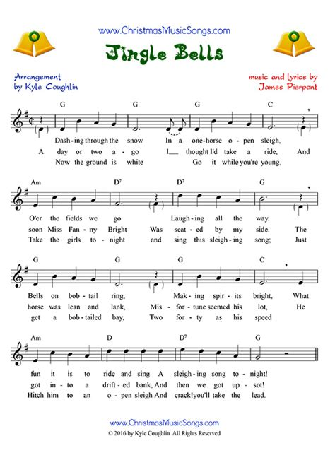 printable version of jingle bells jingle bells free sheet music