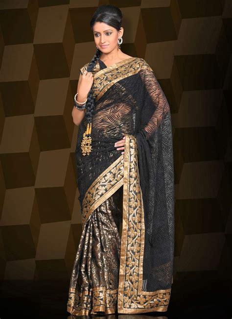 And Gold Sari black saree on saree wear and saris