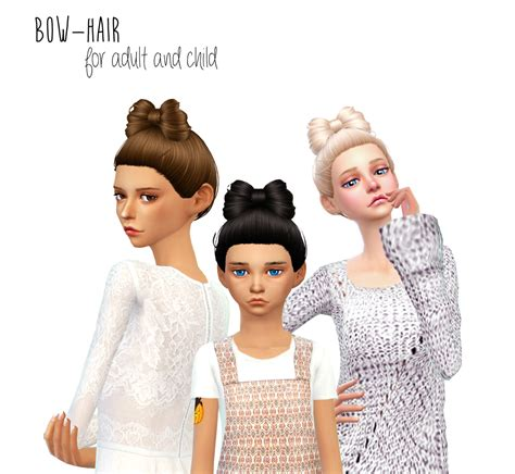 sims 4 cc for kids hair lana cc finds non alpha bow hair by dani paradise ts4