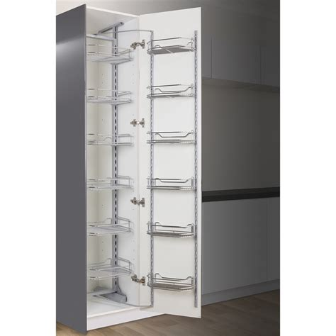 wire slide out shelves for kitchen cabinets kaboodle 450mm chrome 6 tier pantry pullout baskets