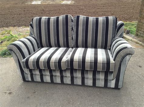 striped two seater sofa black and grey striped 2 seater sofa