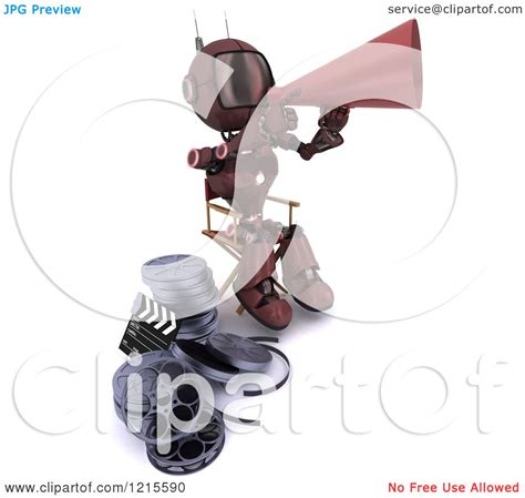 Robot Film Director Name | clipart of a 3d red android robot movie director using a