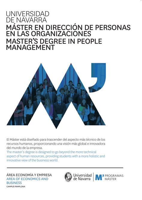 Mba Universidad De Navarra by M 225 Ster En Direcci 243 N De Personas En Las Organizaciones