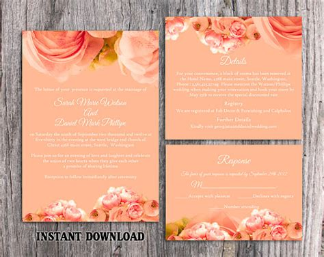 Dl Wedding Invite Templates by Diy Wedding Invitation Template Set Editable Word File