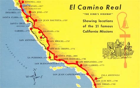 california map missions a trail map of some of the amazing missions across
