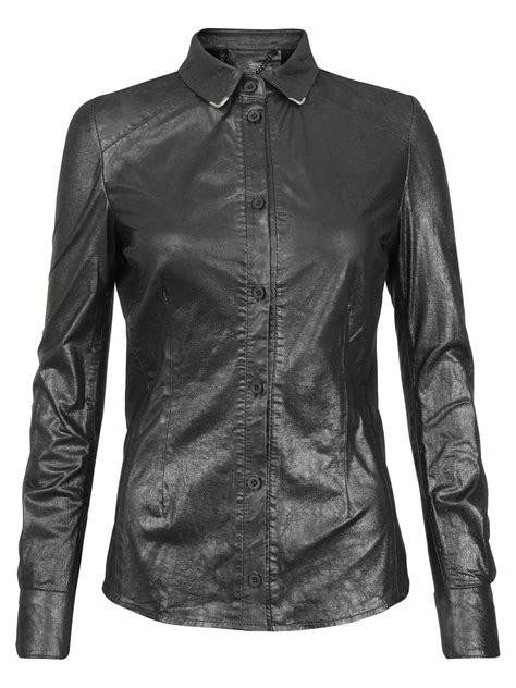 7 Luxe Leather Shirts by Azana Leather Collar Tip Shirt In Gun Metal