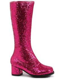 pink glitter go go womens boots accessories
