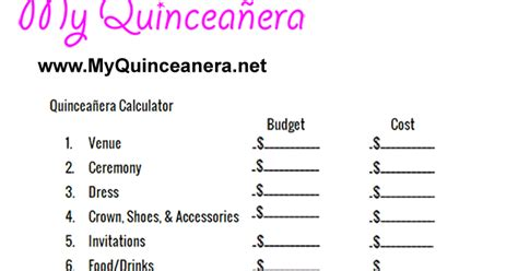 printable quinceanera planning guide my quincea 241 era budget calculator