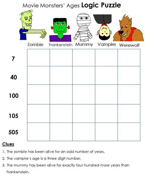 printable math logic puzzles math logic problems worksheets best math logic puzzles