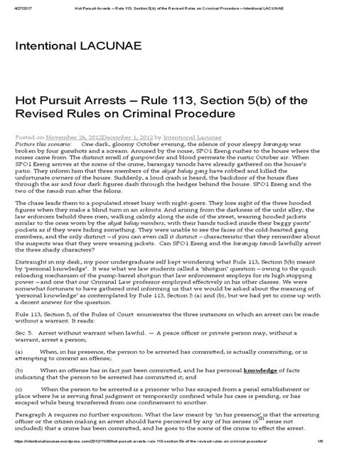 Hot Pursuit Arrests Rule 113 Section 5 B Of The