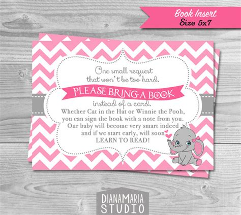 Baby Reading Pink book insert baby shower pink elephant theme bring a book