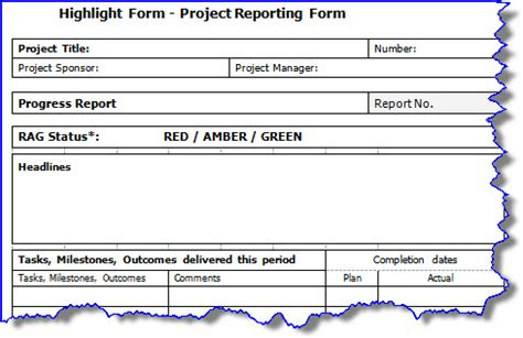 project highlight report template highlight report rosenheadron rosenhead