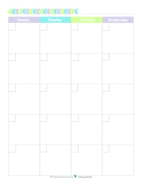 blank 2 page per month calendar half size green blue personal planner free printables