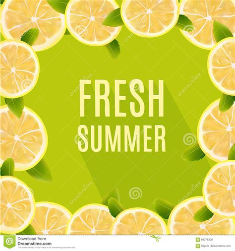 design element citrus fresh summer background with citrus lemon fruits design