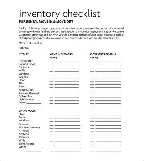 inventory for rental property template sle rental inventory template 7 free excel pdf