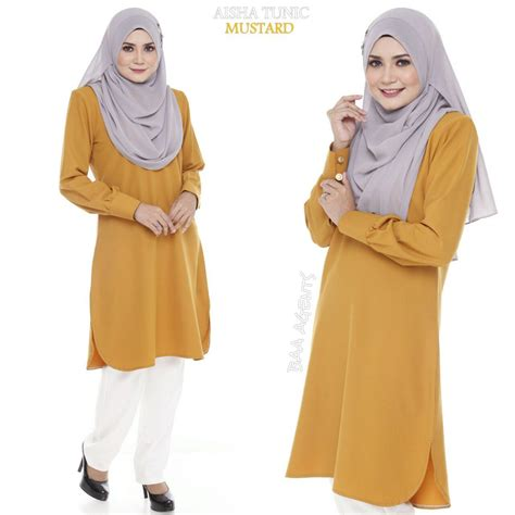 Delta Tunik Blouse Muslim aisha tunic ii mesra penyusuan saeeda collections