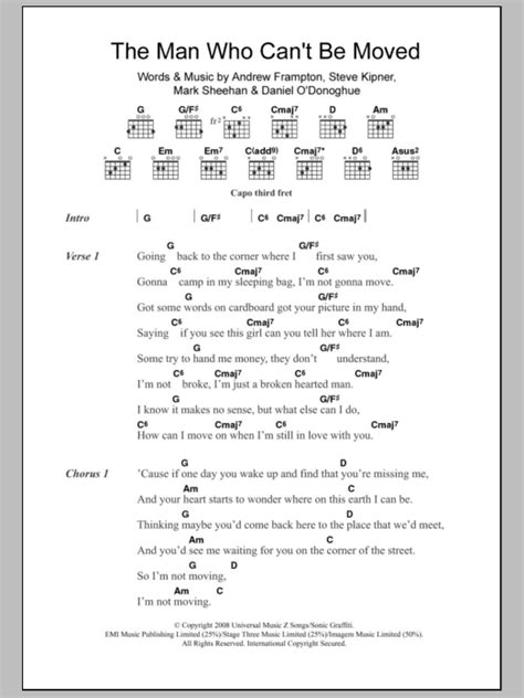tutorial guitar the man who can t be moved the man who can t be moved by the script guitar chords