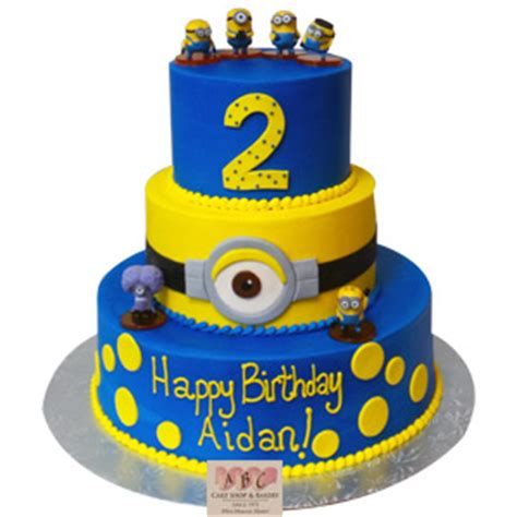 (2183) 3 Tier Minion Birthday Cake   ABC Cake Shop & Bakery