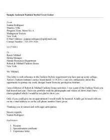 fashion stylist cover letter fashion stylist assistant cover letter writefiction581
