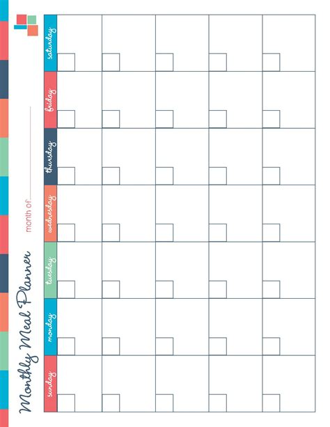 Weekly Food Calendar free printable meal planner kitchen set recipes meal