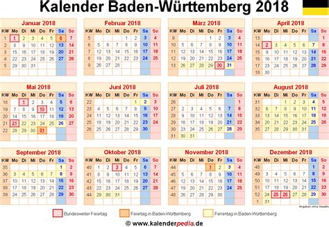 Kalender 2018 Baden Württemberg Zum Ausdrucken Kalender 2018 Baden W 252 Rttemberg Ferien Feiertage Excel