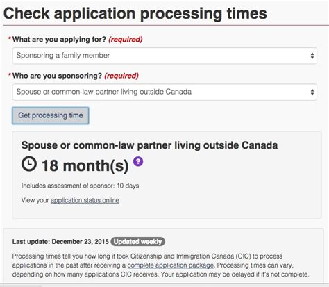 canadian immigration application processing times for
