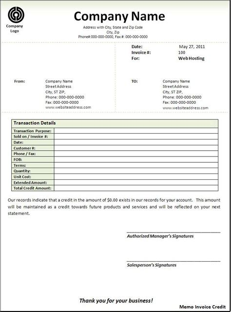 Credit Invoice Template Free Business Templates Archives Templates