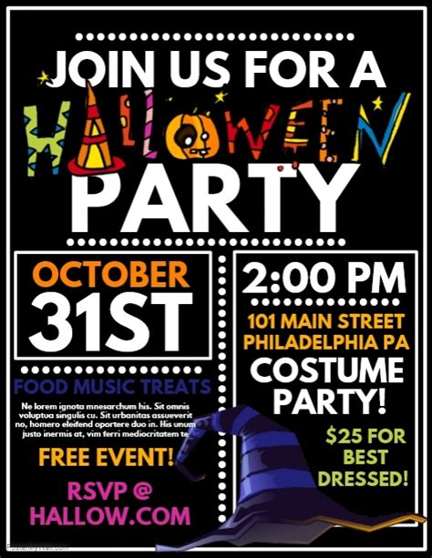 templates for party posters halloween party template postermywall